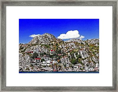 Rugged Cliffside Village Digital Painting Framed Print by Barbara Griffin