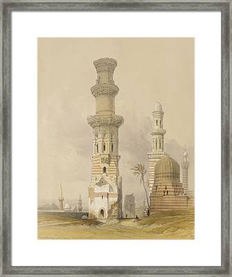 Ruined Mosques In The Desert Framed Print by David Roberts