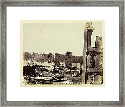 Ruins Of A Railroad Bridge Framed Print by British Library