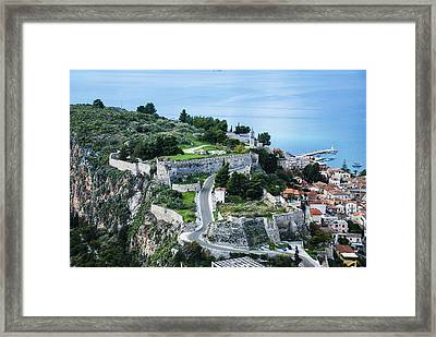 Ruins Of Acronafplia Framed Print by David Waldo