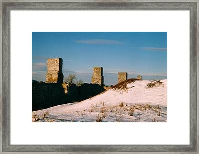 Ruins With Snow And Blue Sky Framed Print by David Fiske