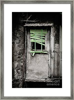 Run Down Part Of Building In Lazio With Broken Venetian Blind At Framed Print by Peter Noyce