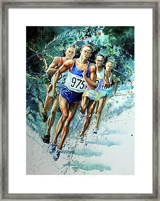 Run For Gold Framed Print by Hanne Lore Koehler