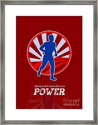Runner Running Power Retro Poster Framed Print by Aloysius Patrimonio