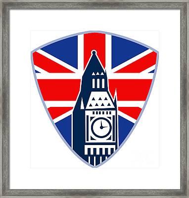 Runner Sprinter Start British Flag Shield Framed Print by Aloysius Patrimonio
