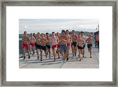 Runners Crossing The Hudson Framed Print by Jim West