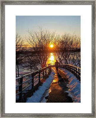 Running In Sunset Framed Print by Paul Ge