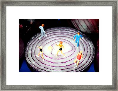 Running On Red Onion Little People On Food Framed Print by Paul Ge