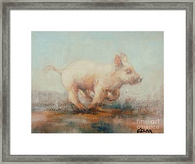 Running Piglet Framed Print by Ellie O Shea