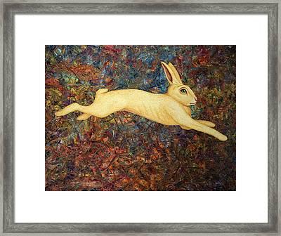 Running Rabbit Framed Print by James W Johnson