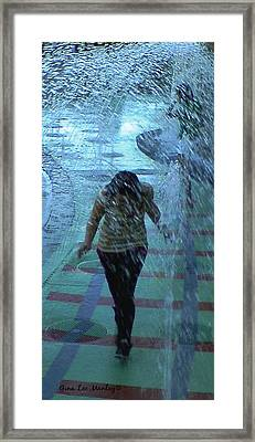 Running Through The Fountains Framed Print by Gina Lee Manley
