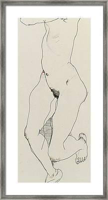 Running Woman Framed Print by Egon Schiele