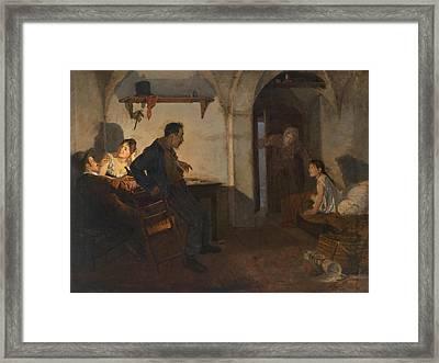 Rural Interior Scene Framed Print by Adolf Karpellus
