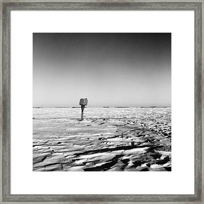 Rural Mail Box In Winter - North Dakota - Prairie Framed Print by Donald  Erickson