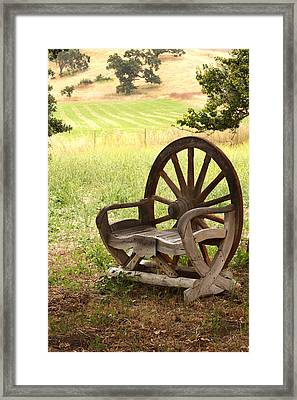 Rural Wagon Wheel Chair Framed Print by Art Block Collections
