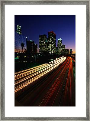 Rush Hour Harbor Freeway Los Angeles Ca Framed Print by Panoramic Images