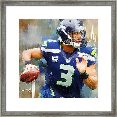 Russell Wilson Framed Print by Lourry Legarde