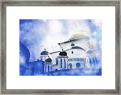 Russian Church In A Blue Cloud Framed Print by Sarah Loft