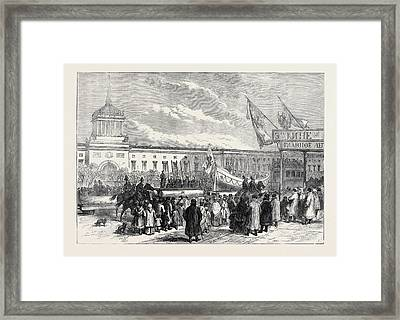 Russian Marriage Festivities Procession Of Life Boats At St Framed Print by English School