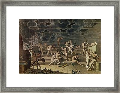 Russian Steam Baths Coloured Engraving Framed Print by Russian School