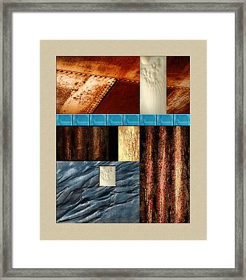 Rust And Rocks Rectangles Framed Print by Elaine Plesser