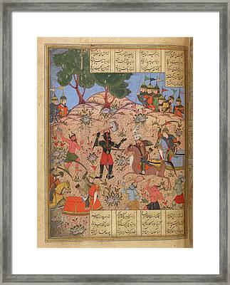 Rustam Cleaving Barkhyas Framed Print by British Library