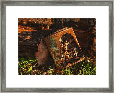 Rusted Can Of Leaves Framed Print by Jack Zulli