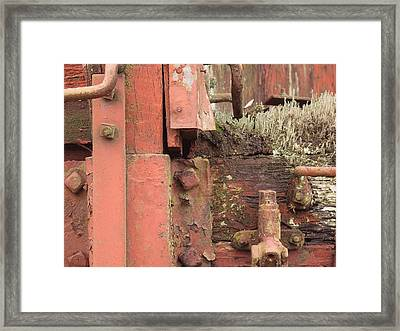 Rusted Train Car Close-up Framed Print by Debra Boyle