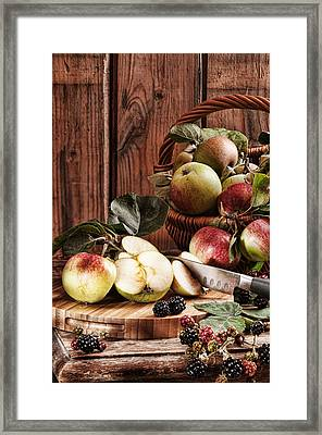 Rustic Apples Framed Print by Amanda Elwell