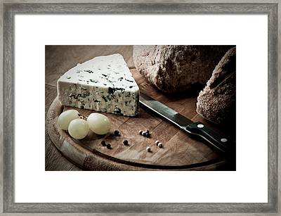 Rustic Bread And Cheese Framed Print by Amanda Elwell
