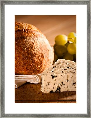 Rustic Bread With Cheese Framed Print by Amanda Elwell