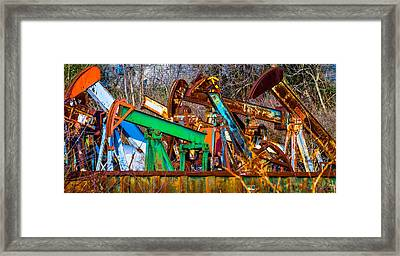 Rustic Pump Jacks Framed Print by Brian Stevens