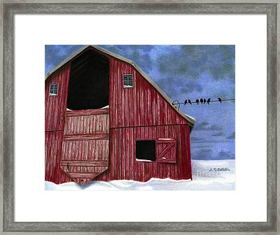 Rustic Red Barn In Winter Framed Print by Sarah Batalka