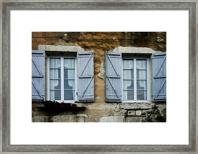 Rustic Wooden Window Shutters Framed Print by Georgia Fowler