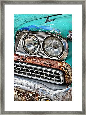 Rusty 1959 Ford Station Wagon - Front Detail Framed Print by Carlos Alkmin