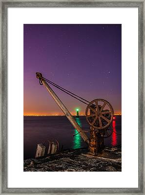 Rusty Davit And Two Lighthouses Framed Print by Semmick Photo