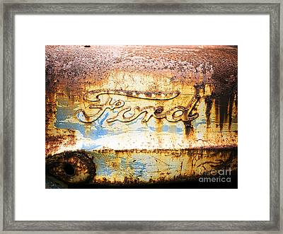 Rusty Old Ford Closeup Framed Print by Edward Fielding