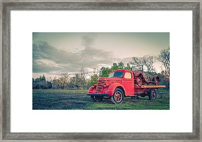 Rusty Old Red Pickup Truck Framed Print by Sarit Sotangkur
