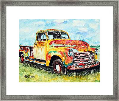 Rusty Old Truck Framed Print by Maria Barry