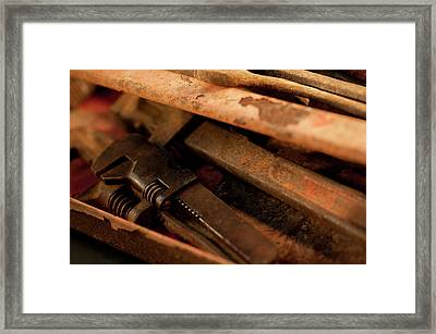 Rusty Toolbox And Tools Framed Print by Wilma  Birdwell