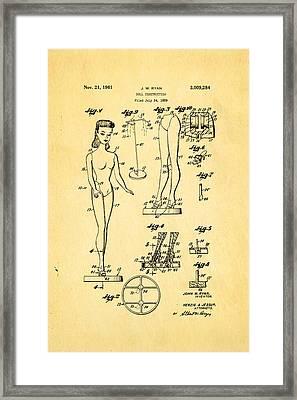 Ryan Barbie Doll Patent Art 1961 Framed Print by Ian Monk