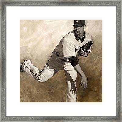 Ryan Vogelsong Perseverence Framed Print by Darren Kerr