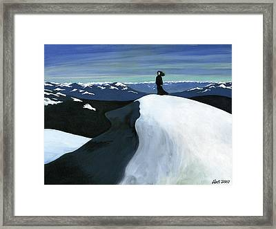 Ryder On The Mountain Framed Print by Holly  Whitstock Seeger