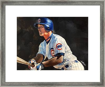 Ryne Sandberg - Chicago Cubs Framed Print by Michael  Pattison