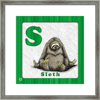 S For Sloth Framed Print by Jason Meents