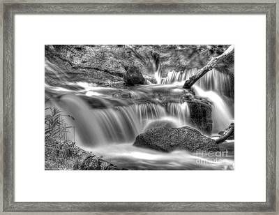 Sable Falls In Black And White Framed Print by Twenty Two North Photography