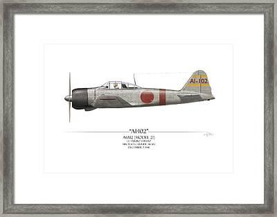 Saburo Shindo A6m Zero - White Background Framed Print by Craig Tinder