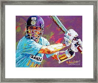 Sachin Tendulkar Framed Print by Maria Arango