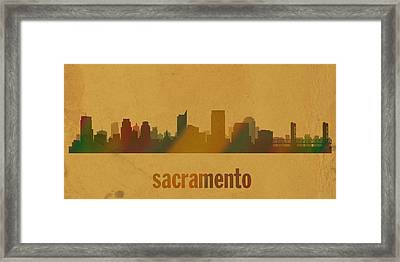 Sacramento California City Skyline Watercolor On Parchment Framed Print by Design Turnpike