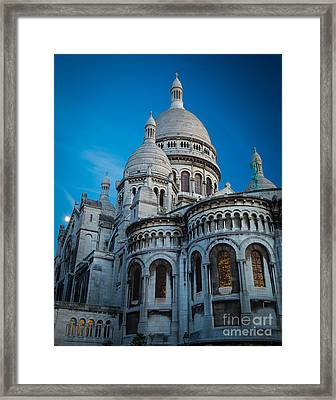 Sacre-coeur At Night Framed Print by Inge Johnsson
